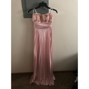 Dresses - Pink silky formal strapless dress